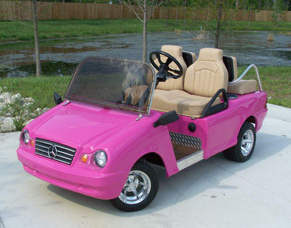 mercedes benz -pink golf cart